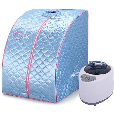 JEOBEST®Sauna cabine de sauna vapeur Heim Sauna chaleur Siège Cabine sauna Prise EU Mini Bleu clair
