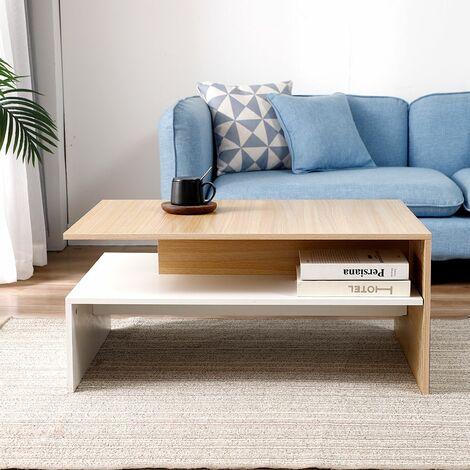 JEOBEST®Table Basse de Salon en Bois avec rangement pour salon 90 * 42 * 60 cm bois couleur-blanc - Bois couleur-Blanc