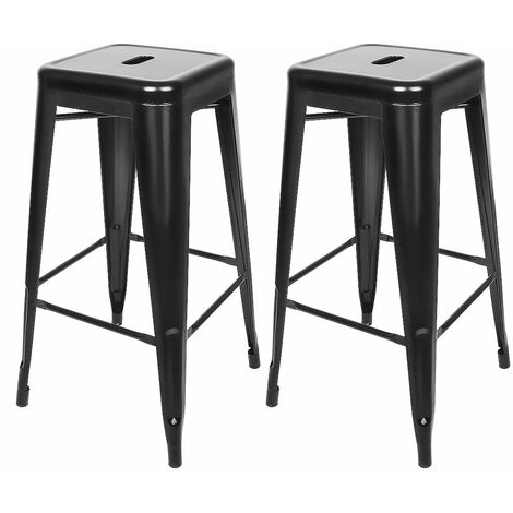 JEOBEST®Tabouret de bar mi-hauteur Empilable 76*43*43 cm (lot de 2) - Noir
