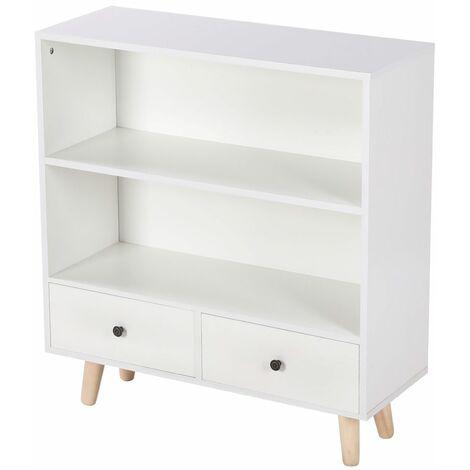 JEOBEST®Wooden feet locker Avec deux tiroirs 80*30*90cm Blanc - Blanc