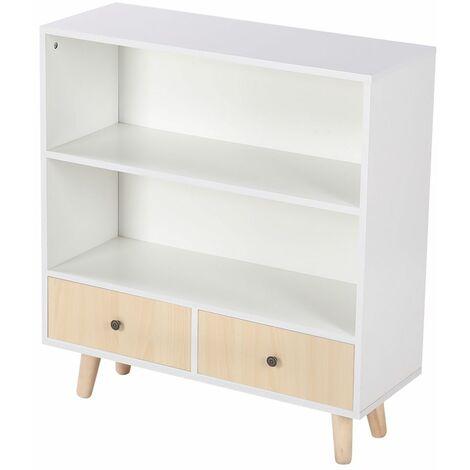 JEOBEST®Wooden feet locker Avec deux tiroirs 80*30*90cm Blanc-Jaune - Blanc-Jaune