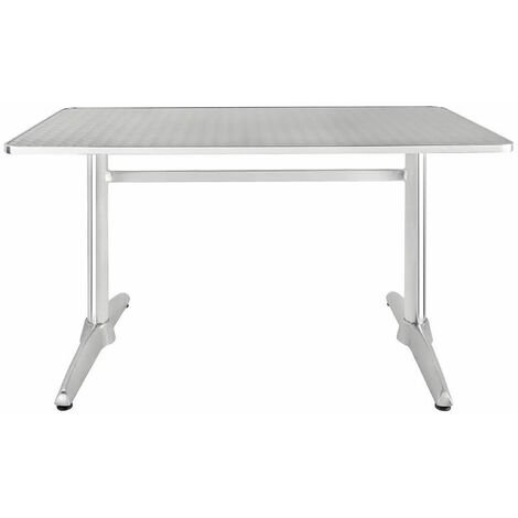 """main image of """"Jerica Stainless Steel Bistro Or Garden Table Double Pedestal"""""""