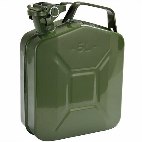 Jerrican Bidon en métal 5L - 24 x 12 x 35 cm Transport Stockage eau et liquides essence diesel voiture moto tondeuse
