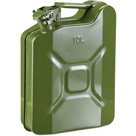jerrican essence 10l, bidon de réserve essence & diesel, étanche, poignée, bidon métal, vert olive