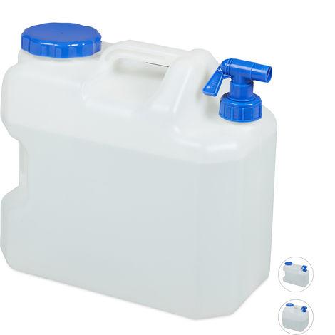 Jerricane d'eau avec robinet, couvercle à visser, bidon à eau de camping, 18 L, Sans BPA, blanc