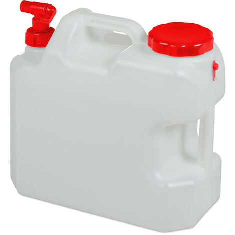 Jerricane d'eau avec robinet, couvercle à visser, bidon à eau de camping, 18 L, Sans BPA, blanc-rouge