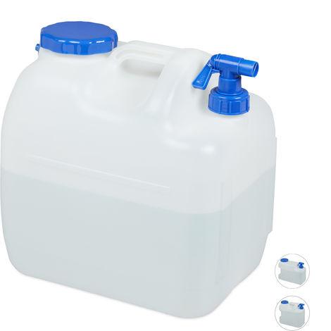 Jerricane d'eau avec robinet, couvercle à visser, bidon à eau de camping, 23 L, Sans BPA, blanc