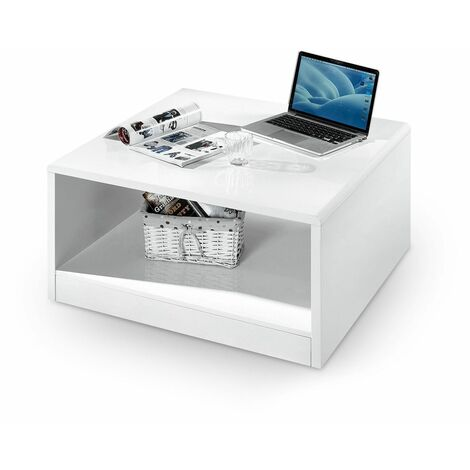 Jersey High Gloss White Square Coffee Table