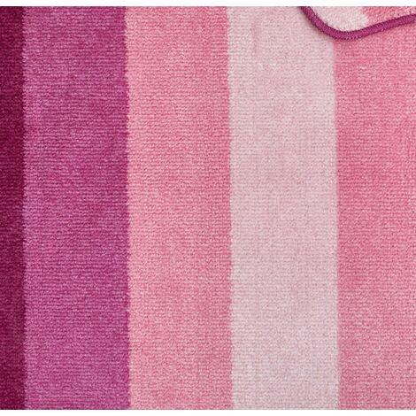 Jersey Striped Bath Mat Pedestal Set Bathroom - Pink