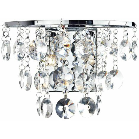 "main image of ""Jester crystal and polished chrome wall light 2 bulbs"""