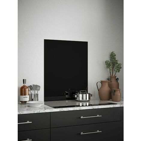 Jet Black Glass Kitchen Splashbacks - different dimensions available
