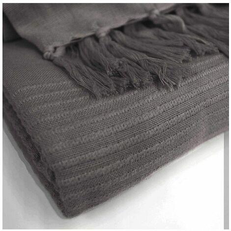 Jeté de canapé à franges en coton - L 240 x l 220 cm ...