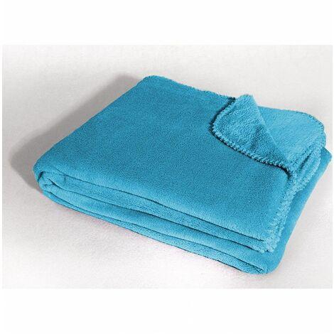Jeté de canapé - L 220 x l 180 cm - Bleu turquoise