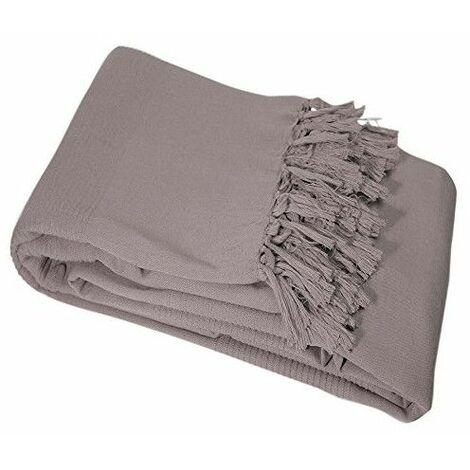 Jeté de fauteuil à franges en coton - L 150 x l 150 cm - Taupe