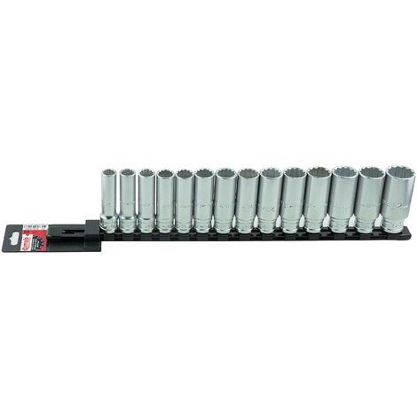 JEU 14 DOUILLES LONGUES 12 PANS 1/2 SUR RACK - GAMME CLIQUETS ET DOUILLES - OUTIL PROFESSIONNEL - MOB