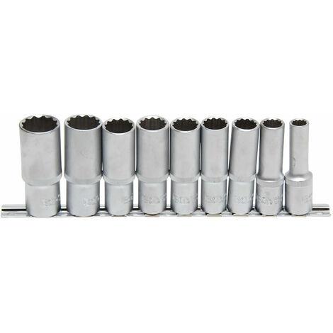 JEU 9 DOUILLES LONGUES 12 PANS BGS TECHNIC CARRE 1/2 DE 10 A 24 MM