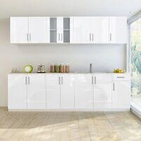 Jeu d'armoire de cuisine 8 pcs Blanc haut brillance 260 cm