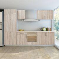 Jeu d'armoires de cuisine avec frigo encastré 7 pcs