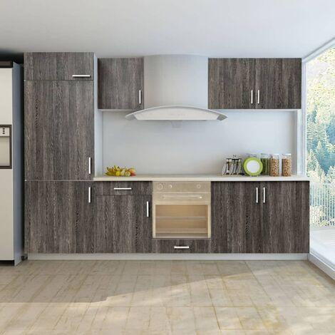 Jeu d\'armoires de cuisine avec frigo encastré 7 pcs Wengé ...