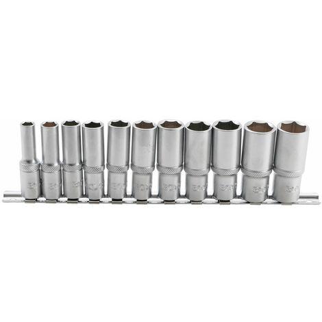 JEU DE 11 DOUILLES 6 PANS BGS LONGUES, PROFONDES, 8 A 19 mm Carré 3/8