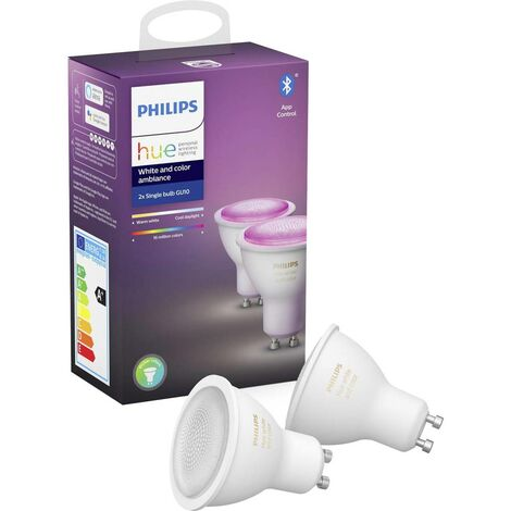 Jeu de 2 ampoules LED EEC: A+ (A++ - E) Philips Lighting White and Color Ambiance 929001953102 GU10 RVBB 6 kWh/10