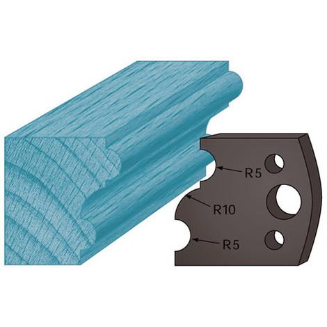 Jeu de 2 contre-fers profilés Ht. 38 x 4 mm profils multiples A52 pour porte-outils de toupie - Diamwood Platinum