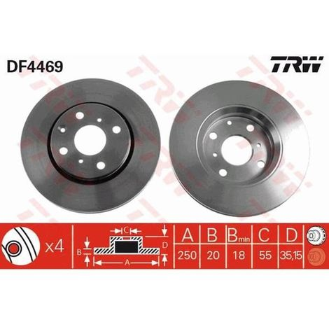 1 Unités TRW df4469 Disque de frein