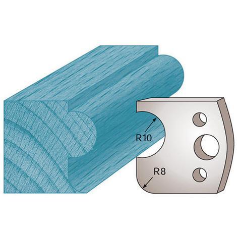 Jeu de 2 fers profilés Ht. 40 x 4 mm boudon et congé M04 pour porte-outils de toupie - Diamwood Platinum