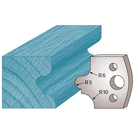 Jeu de 2 fers profilés Ht. 40 x 4 mm congé à gorge M12 pour porte-outils de toupie - Diamwood Platinum