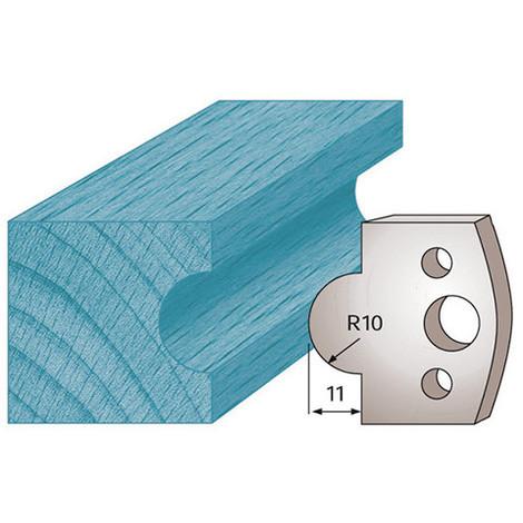 Jeu de 2 fers profilés Ht. 40 x 4 mm gueule de loup M14 pour porte-outils de toupie - Diamwood Platinum