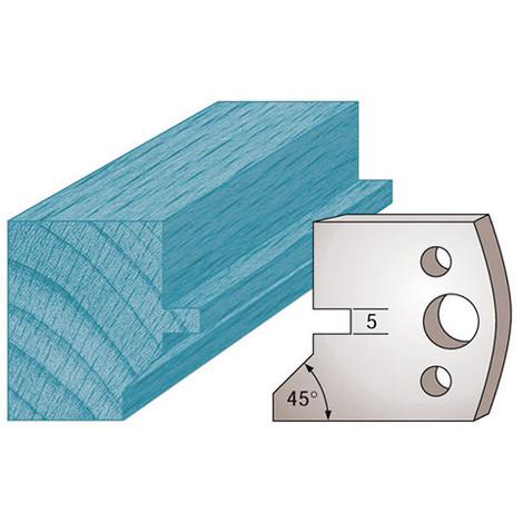 Jeu de 2 fers profilés Ht. 40 x 4 mm languette et chanfrein M83 pour porte-outils de toupie - Diamwood Platinum