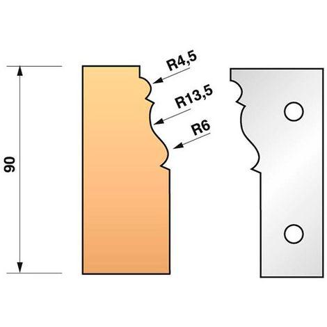 Jeu de 2 fers profilés N°301 pour porte-outils Ht. 90 mm - 955.301 - Leman - -