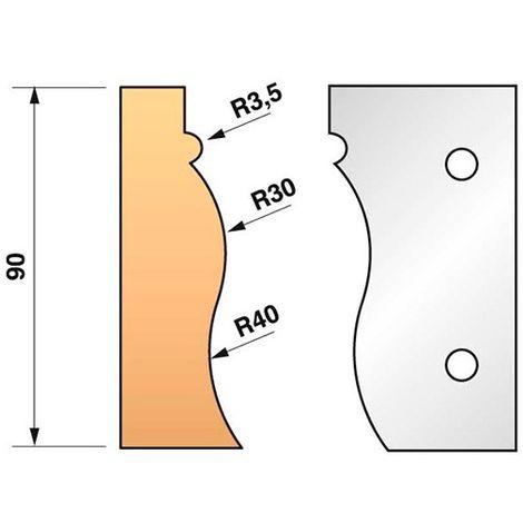 Jeu de 2 fers profilés N°322 pour porte-outils Ht. 90 mm - 955.322 - Leman - -
