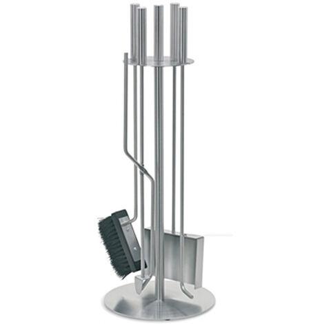 Jeu de 4 accessoires pour cheminées ou poêles à bois en acier inoxydable