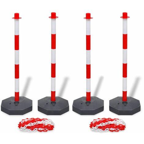 """main image of """"Jeu de 4 poteaux à chaîne et 2 chaînes en plastique 10m chacune"""""""