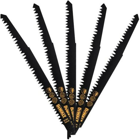 Jeu de 5 Lames de coupe bois HCS pour scie sabre DeWALT DT2352-QZ (240 mm)