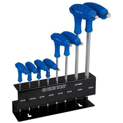 Jeu de 8 clés mâles 6 pans à poignée en L avec tête sphérique métrique sur présentoir - 2 à 10 mm - -