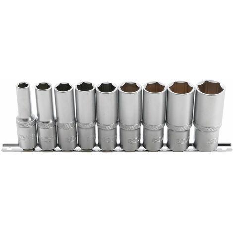 JEU DE 9 DOUILLES 6 PANS BGS LONGUES, PROFONDES, 10 A 24 mm Carré 1/2