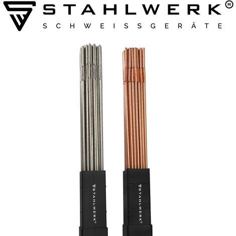 Jeu de baguettes à souder STAHLWERK ER70S-G3 acier & ER307Si acier inoxydable fortement allié/Ø 2,5/2,4 x 500 mm/chacun 1 kg métal d'apport WIG, Boîte de rangement incluse