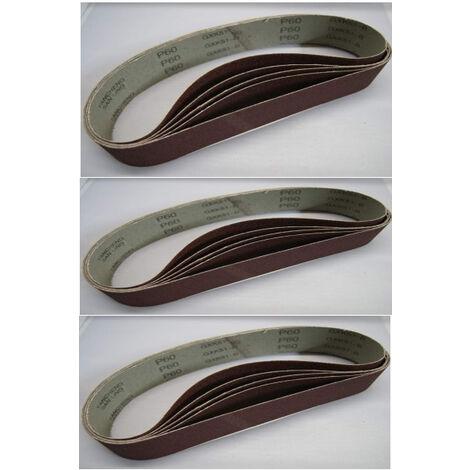 Jeu de bandes abravises de ponceuse - 76 x 533 mm - K60 - K180 - 15 piècesWestfalia
