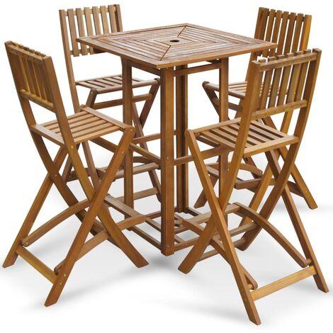 vidaXL Table de Bar Bois dAcacia Massif Haute Table Bistrot Mobilier ...