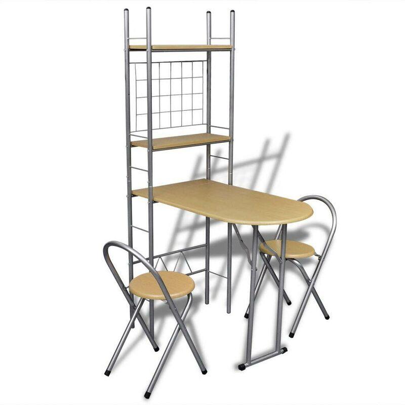 VDTD08499_FR Jeu de bar petit-déjeuner pliable avec 2 chaises - Topdeal