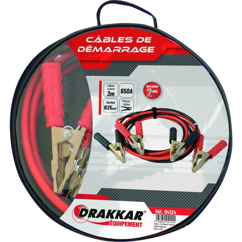 Drakkar Equipement - Jeu de cables de démarrage cuivre souple pinces Laiton 650 Ampères - S04124