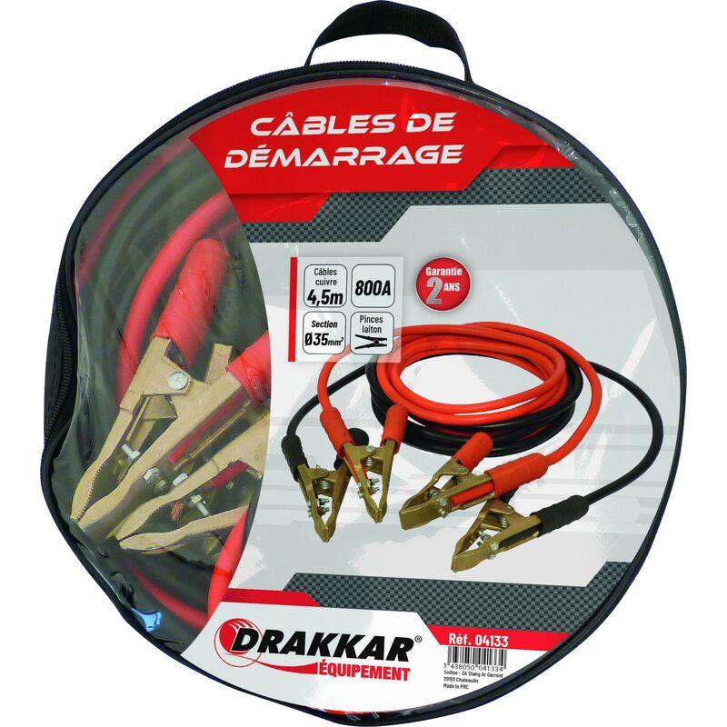 Drakkar Equipement - Jeu de cables de démarrage cuivre souple pinces laiton 800 Ampères DRAKKAR- S04133