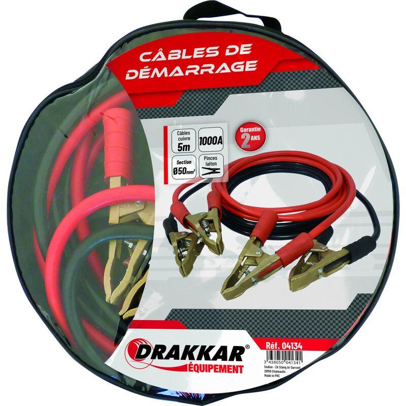Drakkar Equipement - Jeu de cables de démarrage cuivre souple pinces laiton 1000 Ampères drakkar- S04134