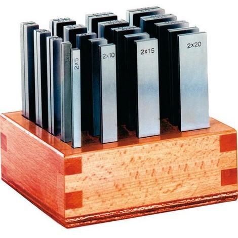 Jeu de cales parallèles précision, sur présentoir en bois, Long. : 150 mm