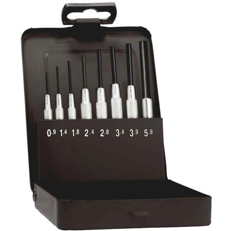 Jeu de chasse-goupilles avec douille de guidage en cassette métallique Rennsteig Werkzeuge 457 100 5