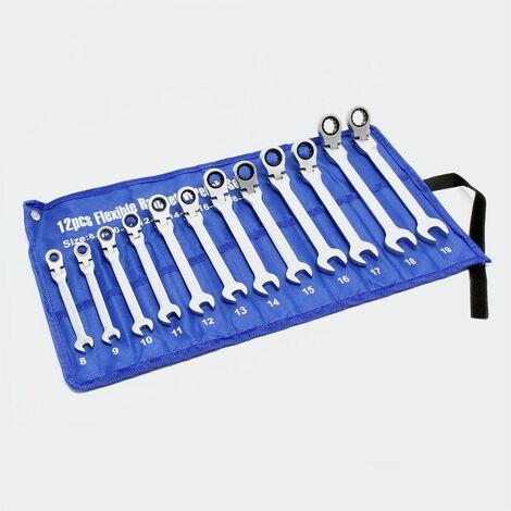Jeu de clés à cliquet 12 pièces avec jeu de clé commune 8-19 mm