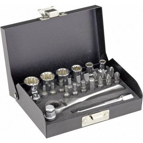 Jeu de clés à douille TOOLCRAFT métrique 1/4 (6.3 mm) 23 pièces 820928