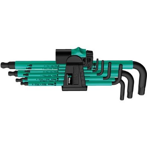 Jeu de clés coudées à 6 pans, à tête sphérique, modèle long, 9 pièces, Contenu : 1,5 2 2,5 3: 4 5 6 8 10 mm